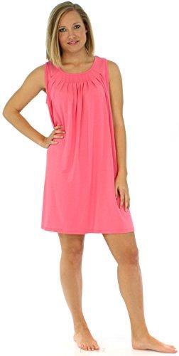 PajamaMania vêtement de nuit doux pour femme chemise de nuit sans manches Fuchsia