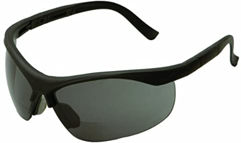 ERB 16876 ERBx Safety Glasses with +2.0 Bifocal Power, Black Frame with Smoke Lens by ERB