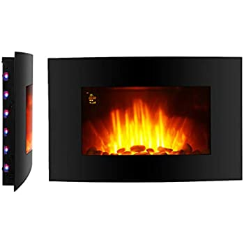Finether Chemin/ée /électrique Flamme LED 2000W Murale R/églable Temp/érature Changeable de 7 Couleurs T/él/écommande Noir