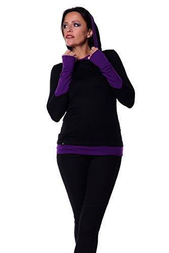 3Elfen Gothic Kleidung Hoodie Longsleeve T-Shirt Langarm Kapuze Damen schwarz lila 4XL Langarmshirt