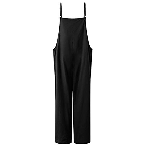 Jumpsuit kurz Women Summer Cotton Linen Solid Camisole Casual Loose Bib Schwarz L -