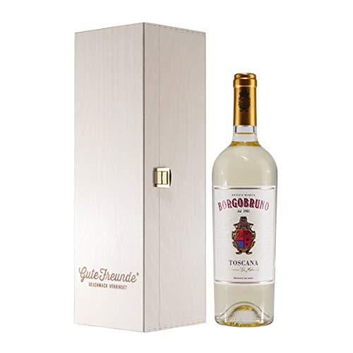 Borgo Bruno Binaco IGT - halbtrockener Italienischer Weißwein mit Geschenk-Holzkiste