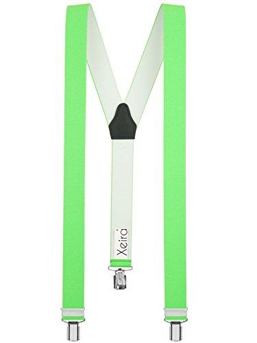 Xeira  Herren Hosenträger Uni & Neon Farben mit 3 Starken Clips und Bandlänge bis XXXL 150cm (Standard (110cm), Neon Grün)