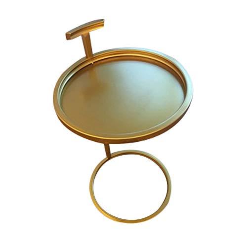 Table HAIZHEN - Poste de Travail pour Ordinateur - en Fer forgé doré - Rond Simple et Moderne - Petit Meuble