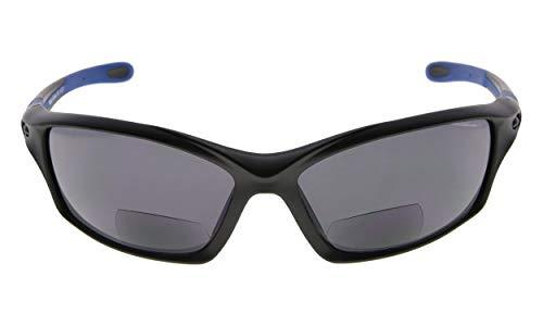 Eyekepper TR90 Rahmen Bifokal Sport Sonnenbrille Baseball Laufen Angeln Fahren Golf Softball Wandern Leser (Schwarzer Rahmen blauer Tempel, 2.50)