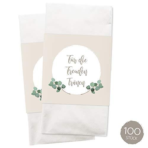 WEDDNG Freudentränen Banderole Boho (100 Stück), Banderolen für Freudentränen Taschentücher mit Klebepunkt zu verschließen, Gastgeschenke Hochzeit