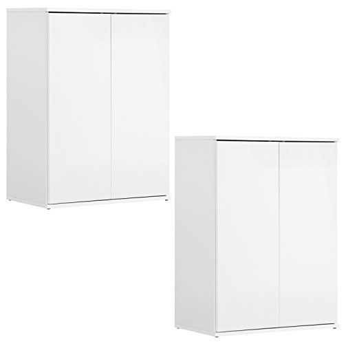 qovi9 \'Der Kurze\' Mehrzweckschrank 2er-Set, Aktenschrank, Schrank, Büroschrank, Universalschrank, Beistellschrank, in Weiß mit Push-to-Open Funktion, 60x81x34 cm (B/H/T), Made IN Germany!