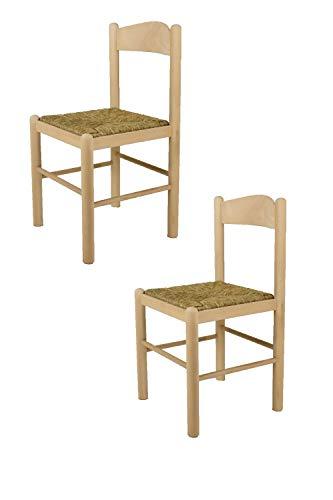 Tommychairs sedie di design - set 2 sedie stile classico pisa 50 per cucina, bar e sala da pranzo, con robusta struttura in legno di faggio levigato, non trattato, 100% naturale e seduta in paglia