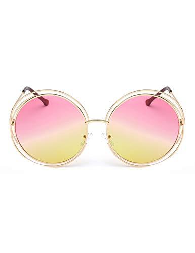 MOMOQU Sonnenbrille Vintage Round Big Size Übergroße Linse SpiegelSonnenbrille FrauenMetallrahmenLady SonnenbrilleLady Cool Retro , Gelb Pink