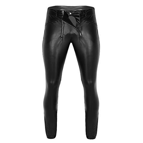 CHICTRY Herren Strumpfhose Wetlook Lang Hose Leder Optik Pants Tight Glanz Leggings mit Zipper Unterwäsche Clubwear Schwarz Gr.M-XL Schwarz Medium -