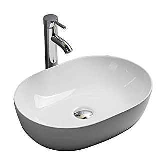 Gimify Cloakroom Basin Bowl Ceramic Modern Countertop Bathroom Sink, 49x36x13.5cm