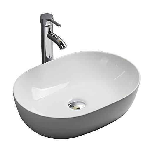 Gimify lavabi d'appoggio ceramica lavandino per bagno 49x36x13.5cm