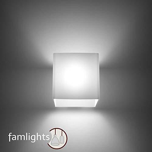 famlights Benjamin Wandlampe aus Glas, Weiß   Wandleuchte edel Wandbeleuchtung modern Zimmerlampe Wohnzimmer-Lampe Schlafzimmer-Leuchte Design Esszimmer-Lampe Treppenhaus Uplight Downlight G9-Fassung -