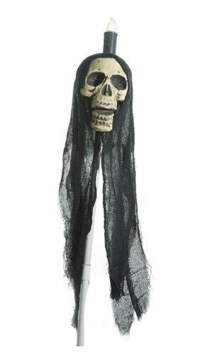 Stecker Totenkopf m. Licht - Perfekte Skelett-Deko für jede Halloween-Party!