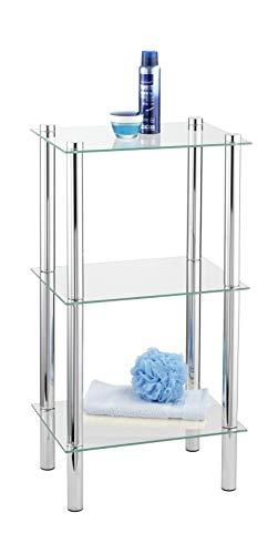 WENKO 15851100 Regal Yago viereckig mit 3 Glasablagen - Badregal, Stahl, 40 x 74 x 30 cm, Chrom -