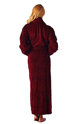 High Style Herren und Damen aus 100% türkischer Baumwolle knöchellang Schalkragen Bademantel Bathrobe burgunderfarben