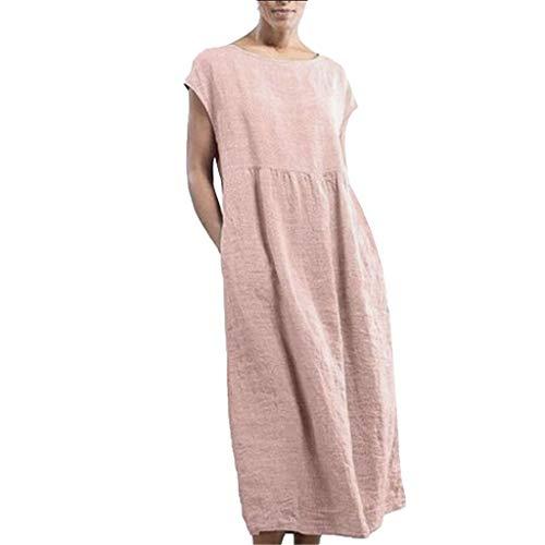Overdose Damen Freizeit Kleider Leinenkleider 1/2 Ärmel Rundhals Einfarbig Casual Urlaub Sommerkleider Strandkleid Midi Dress Frauen kostüme übergröße (EU 50/CN 5XL, X-rosa) (Übergröße Urlaub Kostüm Frauen)
