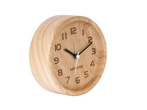 Karlsson - Wecker Wood Round - Eichenholz - Hell - Ø11 x H4 cm