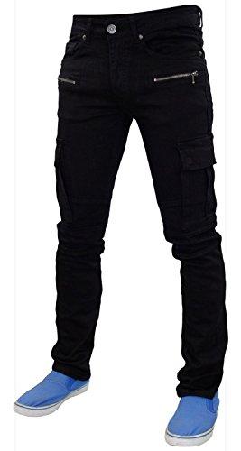 Neue Herren 7-Serie Cargo Tasche Skinny Slim Fit Stretchable Baumwolle Denim-Jeans Black