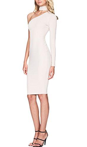 Damen Young Fashion Langärmel Figurformend mit Hals Ring Stretchy Halter One Schulter Design Abschlussball Kleid AbendKleid Weiß
