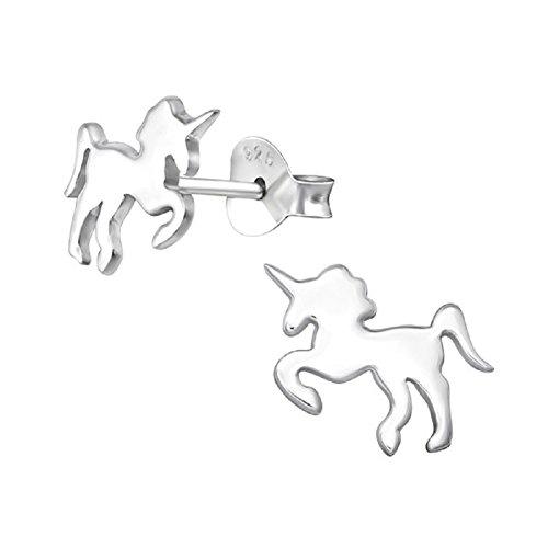 laimons Kids Niños de pendientes Unicornio brillante plata de ley 925