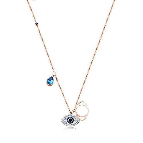 ANLW Damen - Fashion Crystal Eye Evil Halskette Titan Stahl Rose Gold Schlüsselbein Schlüsselbein