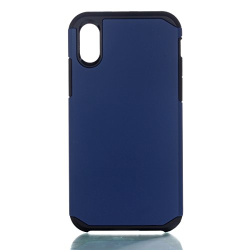 CaseforYou Hülle iphone X Schutz Gehäuse Hülse Hybrid Dual Layer Armor Shockproof Slim Back Case Protective Cover Schutzhülle für iphone X Handy (Rose Gold) Navy Blue