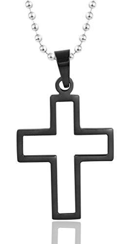 Beydodo Edelstahl Kette mit Anhänger Damen Kreuz Kruzifix Schwarz Halskette Partnerkette Freundschaftskette für 1 PCS