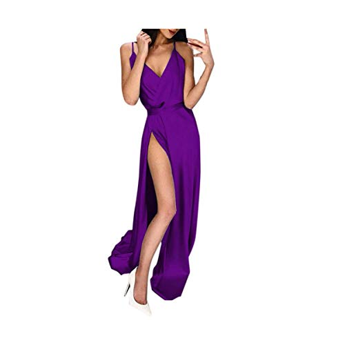 Sexy Womens Solid Color Long Sleeve High Waist Open Back Stitching Party Dress Red,Wine,Blue,Green,Purple,Gray,Beige Purple S