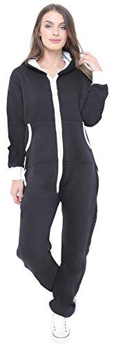Neue stilvolle Damen-Kapuzenpulli Hood Strampelanzug Körperanzug Jumpsuit Overall Small Schwarz
