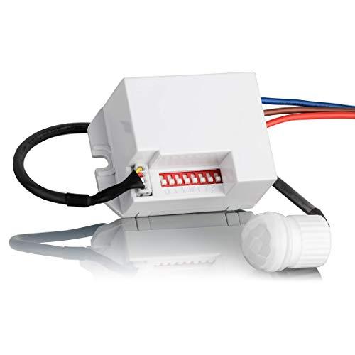 SEBSON® Mini Bewegungsmelder Innen, Unterputz Deckenmontage zum Einbauen, programmierbar, Infrarot Sensor Reichweite 6m / 360°, LED geeignet
