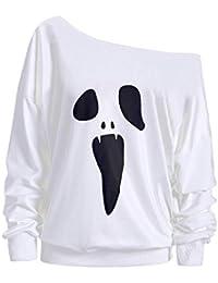 Halloween!!! LSAltd Damen Böse Geister Print Halloween Sweatshirt Rundhals Langarm Pullover Baggy Lose Tops Shirt Tunika Bluse 2018