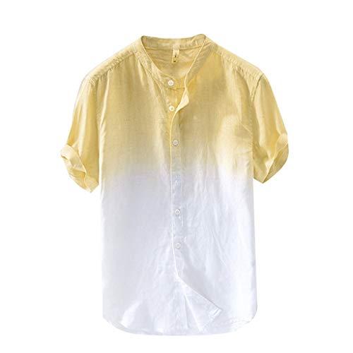 2019 Neue Herren Hemd aus gefärbter Baumwolle mit Farbverlauf,Männer kühl und dünn,Männer atmungsaktiv,Männer Kragen hängend,Männer Mode-T-Shirt-Oberteile Plus Size-Hemd-T-Shirt-Pullover Kurzarmbluse (Fünf Unten Halloween-t-shirts)