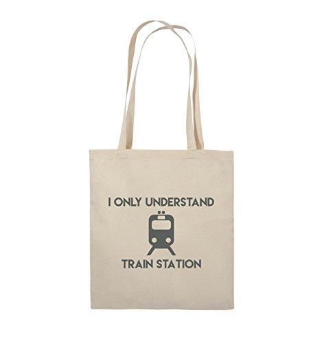 Comedy Bags - I ONLY UNDERSTAND TRAIN STATION - Jutebeutel - lange Henkel - 38x42cm - Farbe: Schwarz / Pink Natural / Grau