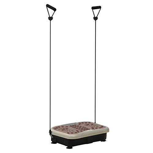 HOMCOM Placa de Vibración Plataforma Vibradora con 2 Bandas Elásticas para Fitness Entrenamiento 200W Control Remoto 99 Velocidades Carga 120kg Pantalla LED