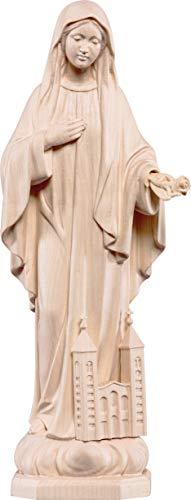Ferrari & Arrighetti Imagen de la Virgen de Medjugorje en Talla de Madera con Acabado Natural Que Mide 10 cm - Demetz Deur