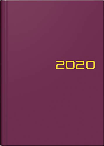 BRUNNEN 107966163 Wochen-/Buchkalender, (2020, Modell 796, 2 Seiten = 1 Woche, A5, 14,8 x 20,5 cm, Blattgröße 14,8 x 20,8 cm, Balacron-Einband) bordeaux