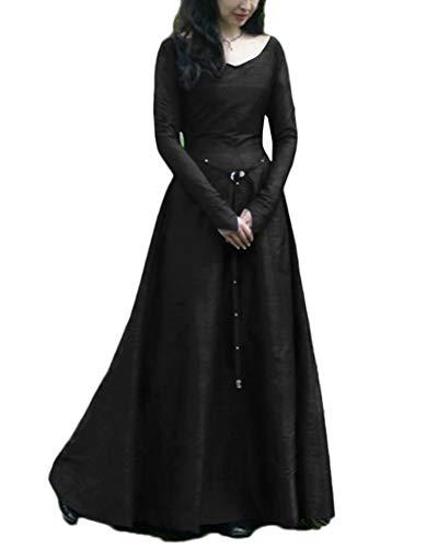 LaoZanA Costume da Principessa Medievale Vestito Donna Vintage Abito Lungo  Nero 2XL 48a000b86ec