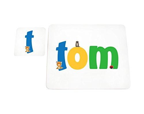 Little Helper Tom de Coast erandpl acemat de 15de personnalisée, fille nom Sets de table et dessous en finition glossy, Tom