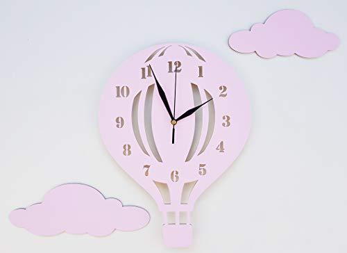 babees Niños Reloj De Pared Globo con nubes, Reloj sin tickge räusche, niños reloj Globo de aire caliente para habitación de los Niños, según los Reloj de pared, decorar Scandi rosa Rosa