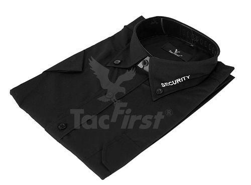 """TacFirst Security Hemd langarm in schwarz mit Kragenstick """"SECURITY"""" in weiß, und verschiedene Krawatten"""