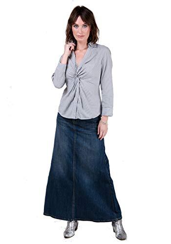 Langer Jeansrock, Vintage Wash Maxi-Rock Damen Mode Denim Rock RAMONA-12 -