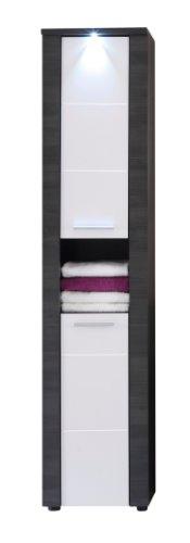 *trendteam smart living Badezimmer Hochschrank Schrank Xpress , 40 x 184 x 29 cm in Korpus Esche Grau (Nb.), Front Weiß mit LED Unterbauspot Beleuchtung*