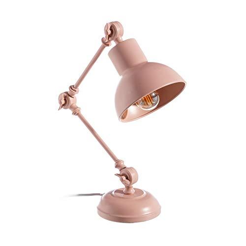 LOLAhome Lámpara Flexo de Escritorio Vintage de Metal Rosa de 45 cm