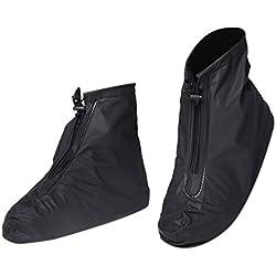 CAOQAO Bottes De Pluie Chaussures De Pluie Fermeture éclair Cordon de Serrage Housse De Chaussures éTanche RéUtilisable Étanche à 360 ° sans Angle Mort,Résistant à l'usure(XL,Noir)