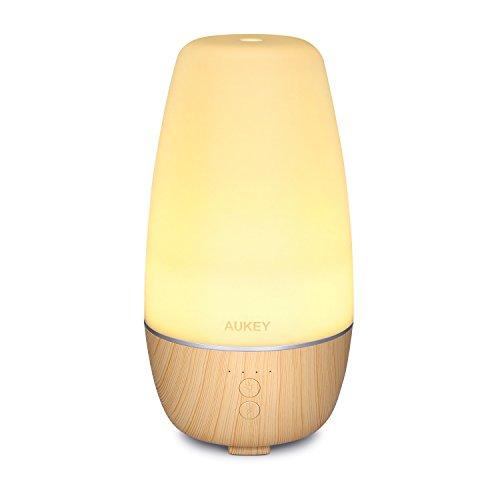 AUKEY Diffusore di Aromi 250ml con 7 Colori LED Cambio Umidificatore Ultrasuoni Nebbia Fredda e 4 Impostazioni di Tempo Aromaterapia per Camera da letto, Camera per Bambino, Spa e Ufficio