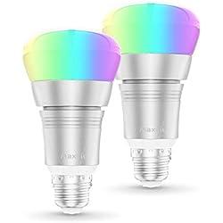 Ampoule Intelligente, Maxcio 9W Ampoule Connectée WiFi Couleurs RGB Compatible avec Amazon Alexa, Google Home IFTTT, Ampoule E27 Led Télécommande par APP Gratuit, Minuterie et Partage (2 Packs)