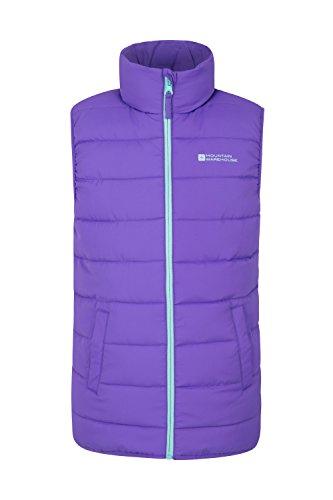 Mountain Warehouse Rocko Steppweste für Kinder - Wasserbeständiger Regenmantel, Steppweste aus Mikrofaser mit zwei Fronttaschen - Idealer Wärmer für Jungen und Mädchen Violett 128 (7-8 Jahre) (Jungen Weste)