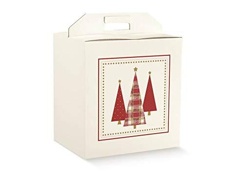 5 scatole cm.43x24x35h PINI STELLATI robuste strenne natalizie fino a 7 kg cartone accoppiato e maniglia esterna PINO