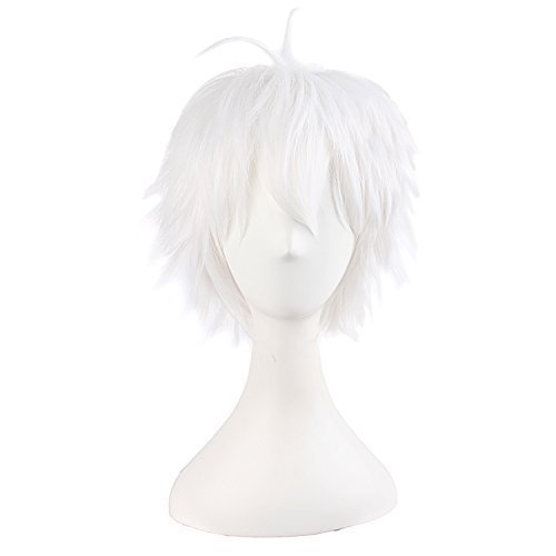 MapofBeauty 14'/35cm corto lacio hombre de cosplay corto Pelucas (blanco)